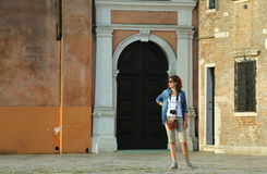 Woman tourist on the island of burano near Venice Stock Photos