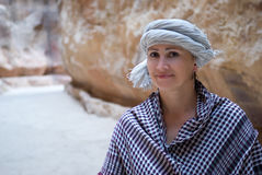 Woman tourist in Jordan Stock Images