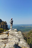 Woman tourist looking at beautiful view of Blyde river canyon Royalty Free Stock Photo