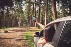 Traveler in forest royalty free stock images