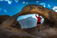 Woman Tourist Mobius Arch Alabama Hills Stock Photography
