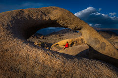 Woman Tourist Mobius Arch Alabama Hills Royalty Free Stock Photography