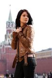Woman tourist in Moscow (Russia) Stock Images