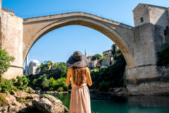 Woman tourist in Mostar city Royalty Free Stock Images