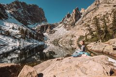 Tourist near Emerald Lake in Colorado Stock Photo
