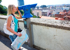 Woman tourist and panorama binoculars Royalty Free Stock Photography
