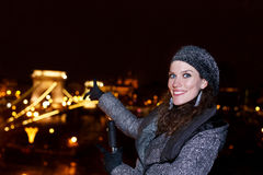 Woman tourist pointing chain bridge at Budapest Royalty Free Stock Images