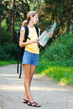 Woman tourist with read the map Stock Photo
