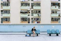 Woman tourist sitting on the chair Royalty Free Stock Photos