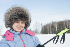 Woman tourist skier4 Stock Photos