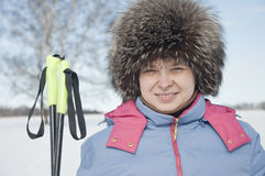 Woman tourist skier3 Royalty Free Stock Image