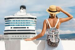 Free Woman Tourist Standing In Front Of Big Cruise Liner, Travel Female Royalty Free Stock Photo - 169860545