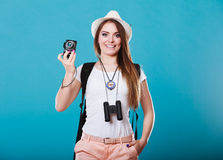 Woman tourist taking photo with camera Stock Photos