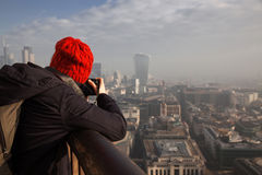 Woman tourist on top of St Paul& x27;s cathedral, London Royalty Free Stock Photography