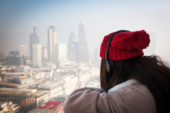Woman tourist on top of St Paul& x27;s cathedral, London Stock Photography