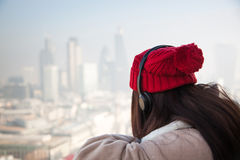 Woman tourist on top of St Paul& x27;s cathedral, London Stock Photos