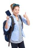 Woman tourist traveler holding passport Royalty Free Stock Photos