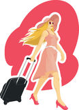 Woman Tourist Travelling with Suitcase. A vector image of a woman dragging her suitcase while travelling happily. Drawn in sketch style, this vector is very good Stock Photo