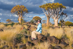 Woman tourist travels in South Africa, Namibia Royalty Free Stock Images