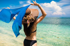 Woman tourist at tropical beach on vacation Royalty Free Stock Image