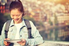 Woman tourist use digital tablet Stock Photos