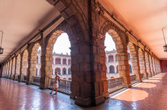 Woman tourist visit National Palace in Mexico City Royalty Free Stock Photo