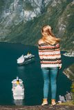 Woman Tourist Walking Over Geiranger Fjord In Norway Stock Images
