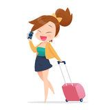 Woman tourist walking with suitcase on white background Royalty Free Stock Photography
