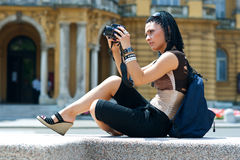 Woman Tourist With Camera Royalty Free Stock Photo