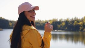 Woman tourist in yellow jacket enjoy of rest on the nature. Quarry landscape stock footage