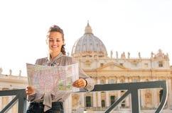 A woman touristLeaning against a balustrade Stock Photos