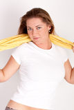 Woman with a towel Royalty Free Stock Photography