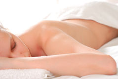 Woman with towel Royalty Free Stock Images