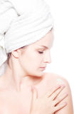 Woman in towel Royalty Free Stock Image