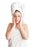 Woman With Towel Around Her Head Stock Photography