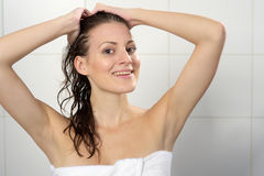 Woman with towel Royalty Free Stock Photo