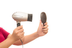 Woman in towel blow-dry Royalty Free Stock Photo