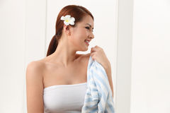 Woman with towel Stock Photo