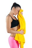 Woman with towel after exercise Stock Photography