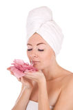 Woman with towel and flower Stock Photo