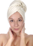 woman with towel on head Royalty Free Stock Photo