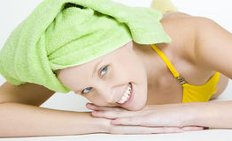 Woman with towel on head Stock Photography