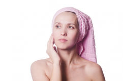 The woman with a towel on the head Stock Photo