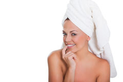 Woman with towel on head Stock Image
