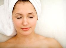 Woman with a towel on her head Stock Photos