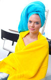 Woman with towel on her head Royalty Free Stock Photo