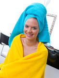 Woman with towel on her head Royalty Free Stock Images