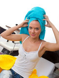 Woman with towel on her head Stock Photos
