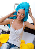 Woman with towel on her head Royalty Free Stock Photography