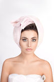 Woman with a towel in her head Stock Photo